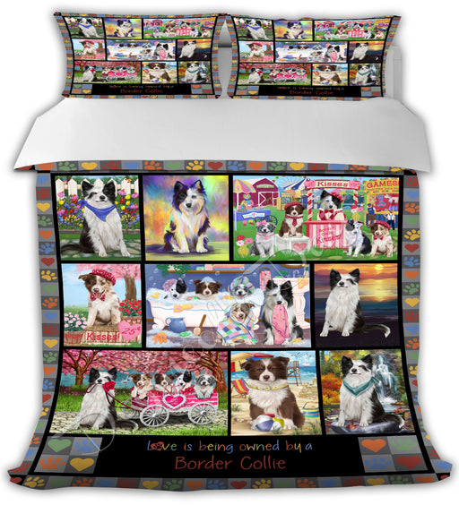Love is Being Owned Border Collie Dogs Grey Bed Comforter CMFTR50184