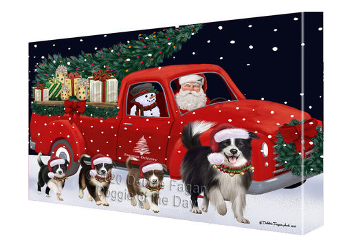 Christmas Express Delivery Red Truck Running Border Collie Dogs Canvas Print Wall Art Décor CVS145925