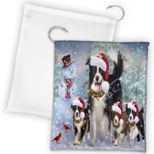 Christmas Running Fammily Border Collie Dogs Drawstring Laundry or Gift Bag LGB48208