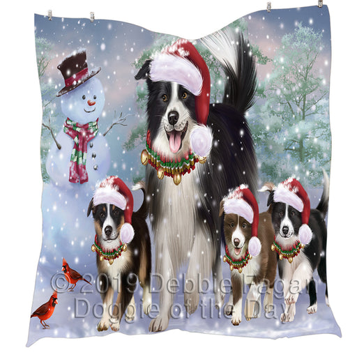 Christmas Running Fammily Border Collie Dogs Quilt