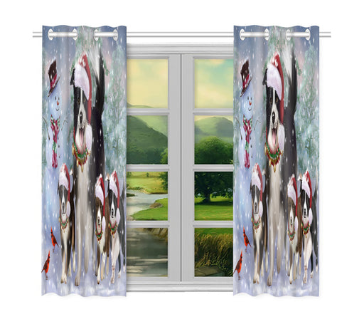 Christmas Running Fammily Border Collie Dogs Window Curtain
