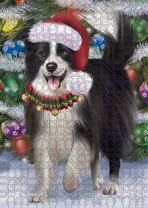 Trotting in the Snow Border Collie Dog Puzzle with Photo Tin PUZL89884