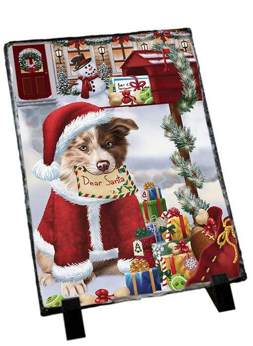 Border Collie Dog Dear Santa Letter Christmas Holiday Mailbox Sitting Photo Slate SLT57489