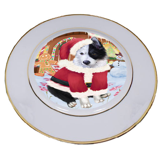 Christmas Gingerbread House Candyfest Border Collie Dog Porcelain Plate PLT54551