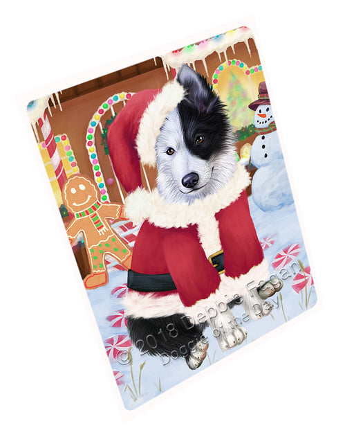 Christmas Gingerbread House Candyfest Border Collie Dog Large Refrigerator / Dishwasher Magnet RMAG99480