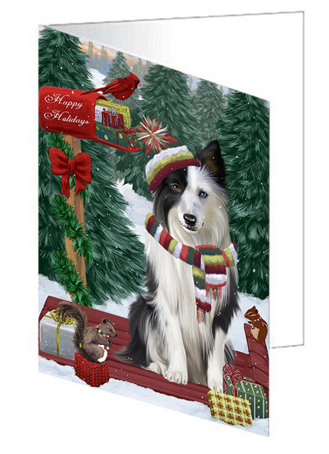 Merry Christmas Woodland Sled Border Collie Dog Note Card NCD69095