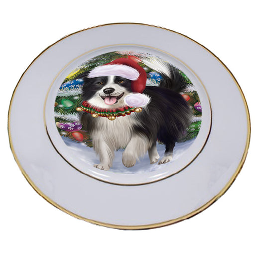 Trotting in the Snow Border Collie Dog Porcelain Plate PLT53769