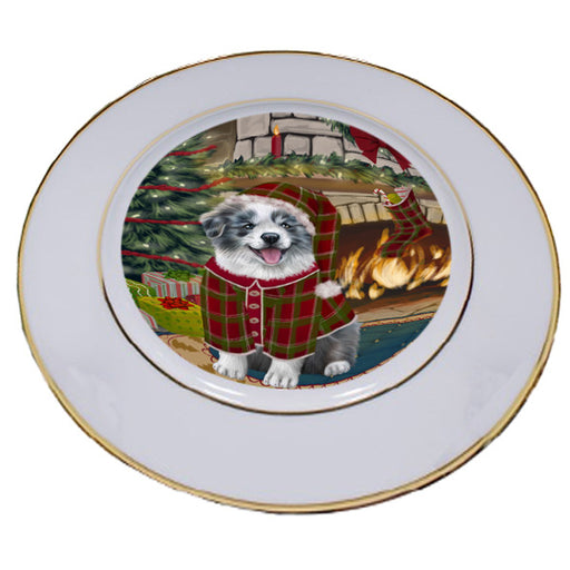 The Stocking was Hung Border Collie Dog Porcelain Plate PLT53581