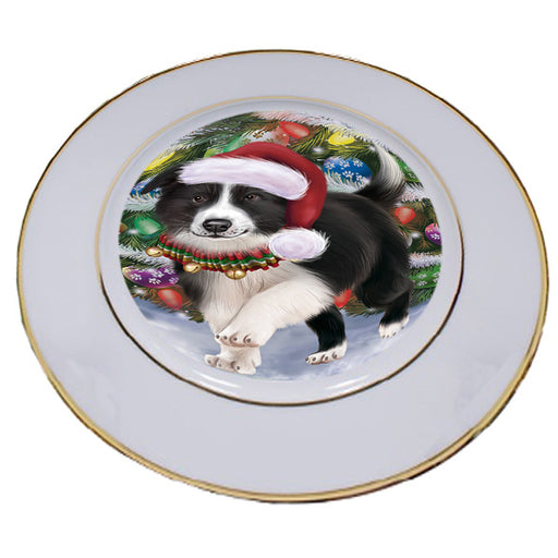 Trotting in the Snow Border Collie Dog Porcelain Plate PLT53770
