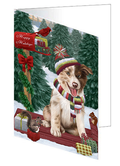 Merry Christmas Woodland Sled Border Collie Dog Note Card NCD69098