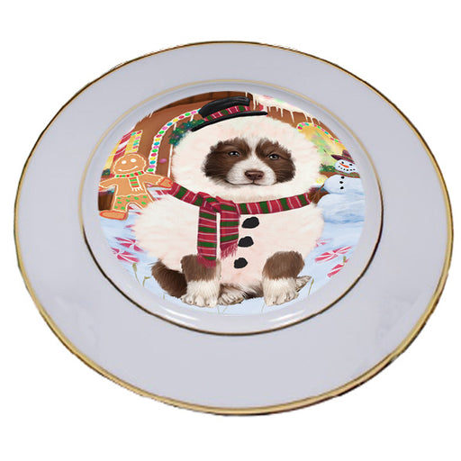 Christmas Gingerbread House Candyfest Border Collie Dog Porcelain Plate PLT54552