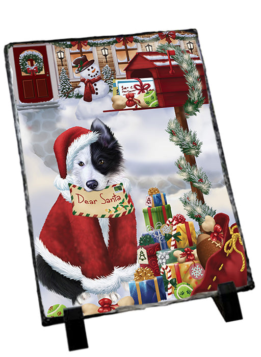 Border Collie Dog Dear Santa Letter Christmas Holiday Mailbox Sitting Photo Slate SLT57490