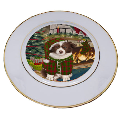 The Stocking was Hung Border Collie Dog Porcelain Plate PLT53582