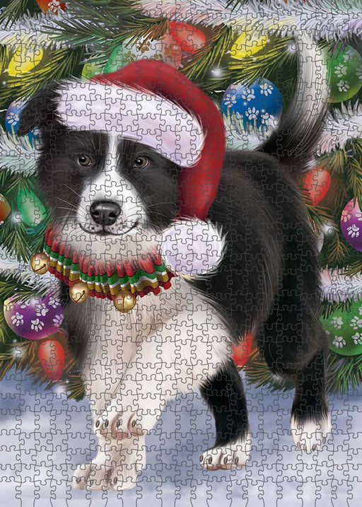 Trotting in the Snow Border Collie Dog Puzzle with Photo Tin PUZL89888