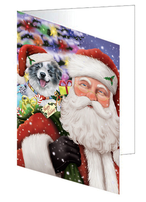 Santa Carrying Border Collie Dog and Christmas Presents Greeting Card GCD65918