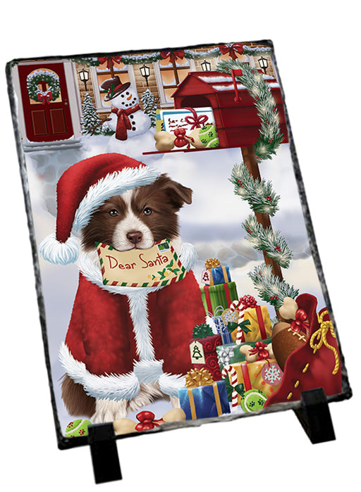 Border Collie Dog Dear Santa Letter Christmas Holiday Mailbox Sitting Photo Slate SLT57491