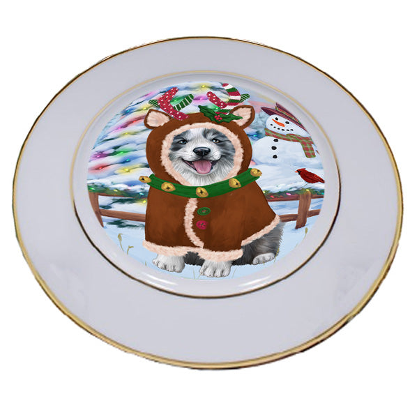 Christmas Gingerbread House Candyfest Border Collie Dog Porcelain Plate PLT54553