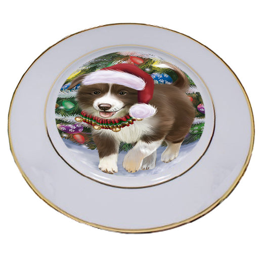 Trotting in the Snow Border Collie Dog Porcelain Plate PLT53771