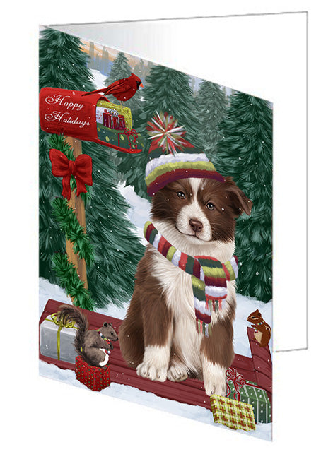 Merry Christmas Woodland Sled Border Collie Dog Note Card NCD69101