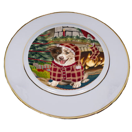 The Stocking was Hung Border Collie Dog Porcelain Plate PLT53583