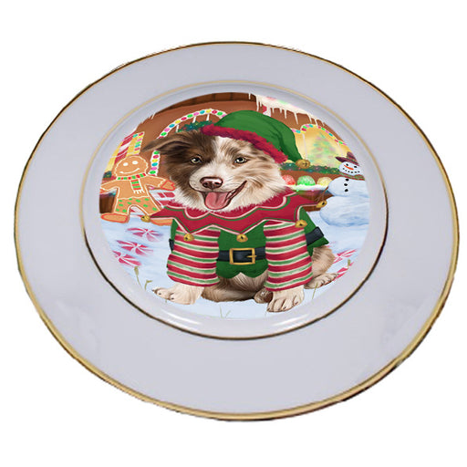 Christmas Gingerbread House Candyfest Border Collie Dog Porcelain Plate PLT54554
