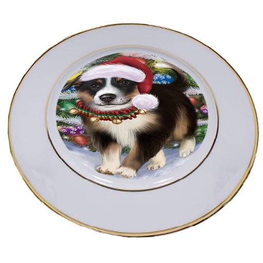 Trotting in the Snow Border Collie Dog Porcelain Plate PLT53772