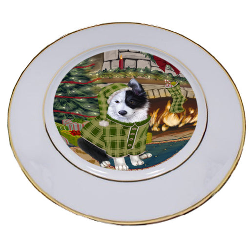 The Stocking was Hung Border Collie Dog Porcelain Plate PLT53584