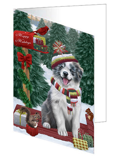 Merry Christmas Woodland Sled Border Collie Dog Note Card NCD69104