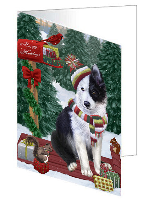 Merry Christmas Woodland Sled Border Collie Dog Note Card NCD69107