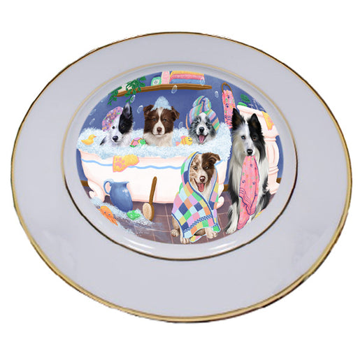 Rub A Dub Dogs In A Tub Border Collies Dog Porcelain Plate PLT55119