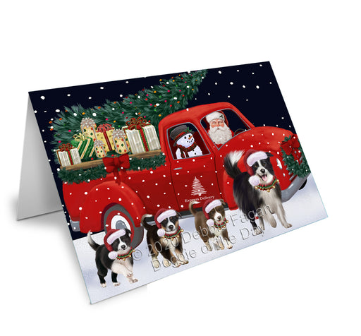 Christmas Express Delivery Red Truck Running Border Collie Dogs Greeting Card GCD75083