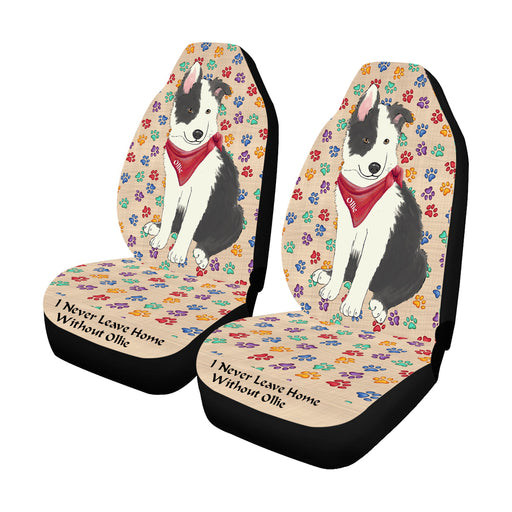 Personalized I Never Leave Home Paw Print Border Collie Dogs Pet Front Car Seat Cover (Set of 2)