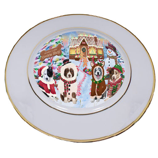 Holiday Gingerbread Cookie Shop Border Collies Dog Porcelain Plate PLT54731