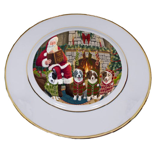 Christmas Cozy Holiday Tails Border Collies Dog Porcelain Plate PLT53455