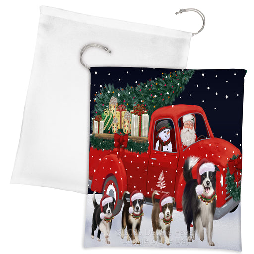 Christmas Express Delivery Red Truck Running Border Collie Dogs Drawstring Laundry or Gift Bag LGB48883