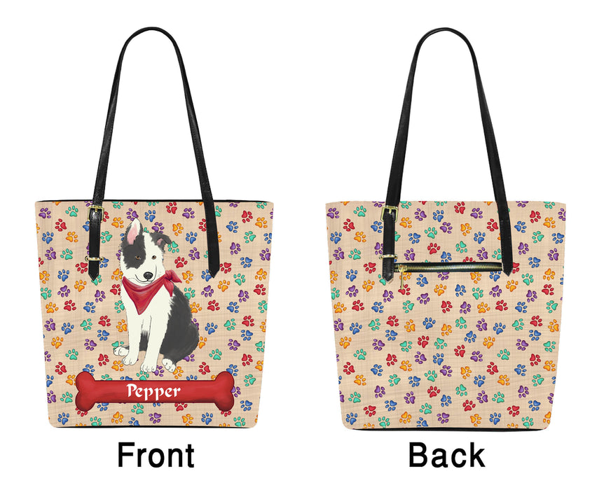 Custom Personalized Red Paw Print Border Collie Dog Euramerican Tote Bag