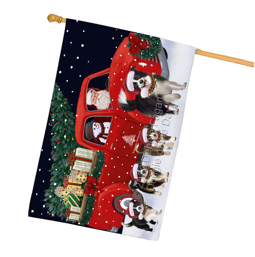 Christmas Express Delivery Red Truck Running Border Collie Dogs House Flag FLG66503