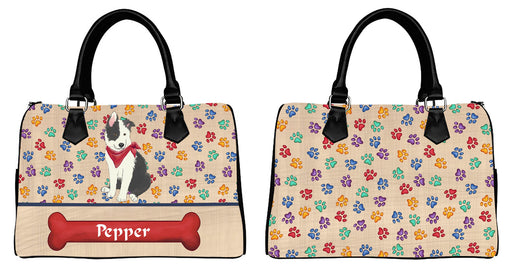 Custom PersonalizedRed Paw Print Border Collie Dog Euramerican Tote Bag Border Collie Dog Boston Handbag