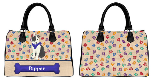 Custom Personalized Blue Paw Print Border Collie Dog Euramerican Tote Bag Border Collie Dog Boston Handbag