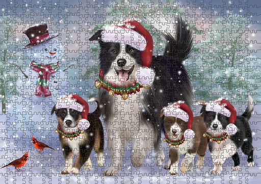 Christmas Running Family Border Collies Dog Puzzle with Photo Tin PUZL90060