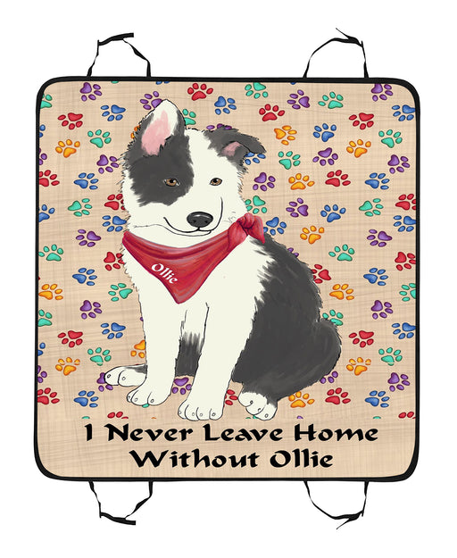 Personalized I Never Leave Home Paw Print Border Collie Dogs Pet Back Car Seat Cover