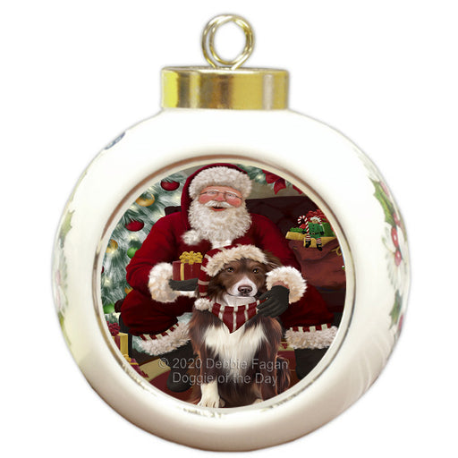 Santa's Christmas Surprise Border Collie Dog Round Ball Christmas Ornament RBPOR58006