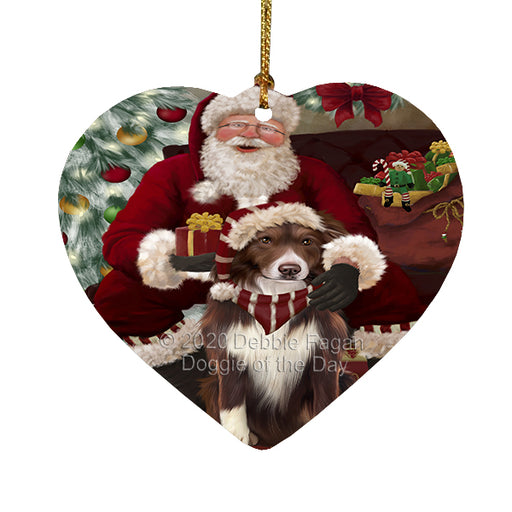 Santa's Christmas Surprise Border Collie Dog Heart Christmas Ornament RFPOR58348
