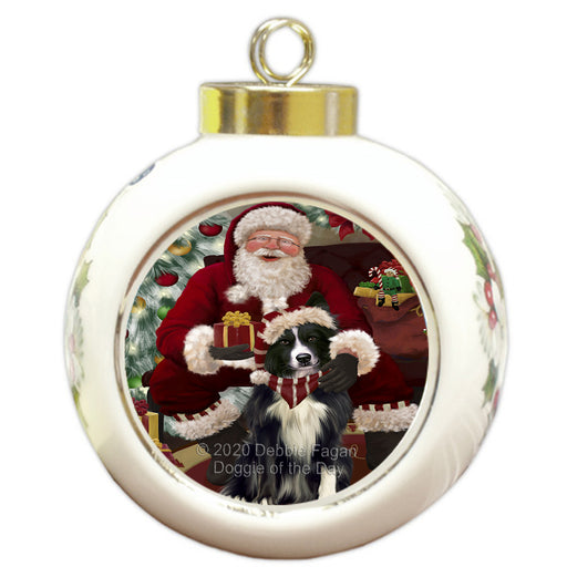 Santa's Christmas Surprise Border Collie Dog Round Ball Christmas Ornament RBPOR58007