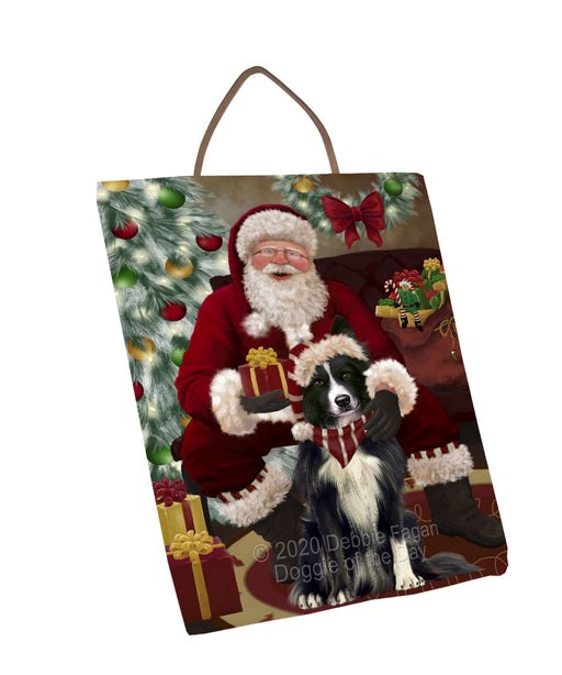 Santa's Christmas Surprise Border Collie Dog Wall Décor Hanging Photo Slate SLTH58417