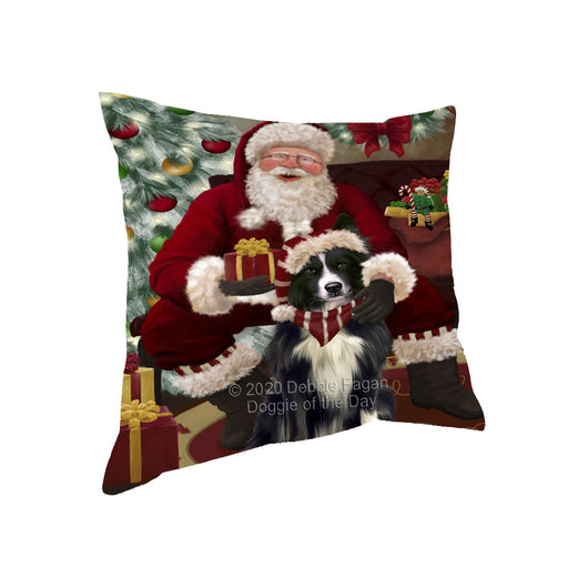 Santa's Christmas Surprise Border Collie Dog Pillow PIL87112