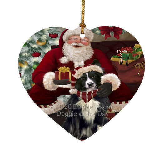 Santa's Christmas Surprise Border Collie Dog Heart Christmas Ornament RFPOR58349