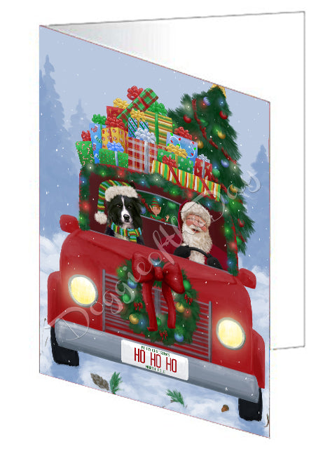 Christmas Honk Honk Red Truck Here Comes with Santa and Border Collie Dog Greeting Card GCD75503