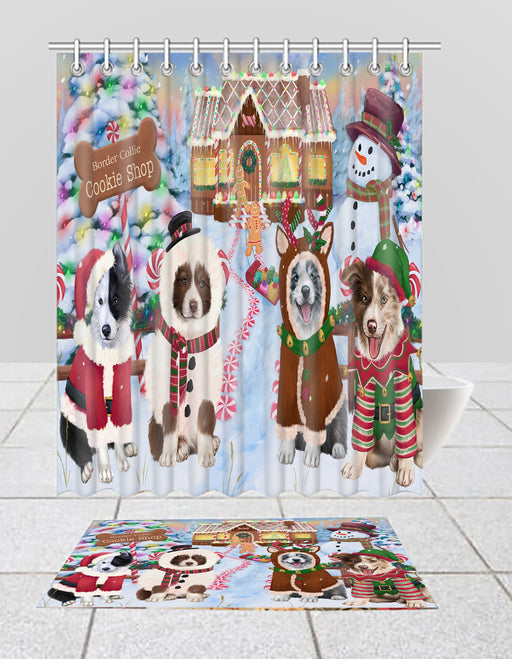 Holiday Gingerbread Cookie Border Collie Dogs  Bath Mat and Shower Curtain Combo