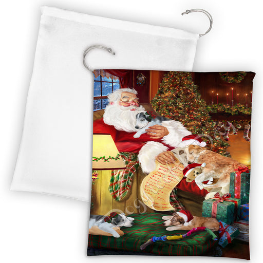 Santa Sleeping with Borzoi Dogs Drawstring Laundry or Gift Bag LGB48786
